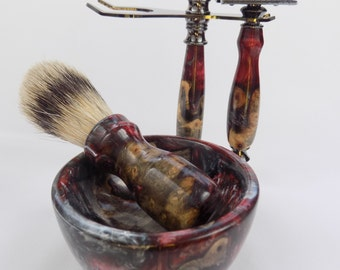 Buckeye Burl with a Buckeye Swirl!  Shaving Set with Silvertip Brush and Matching Shaving Bowl
