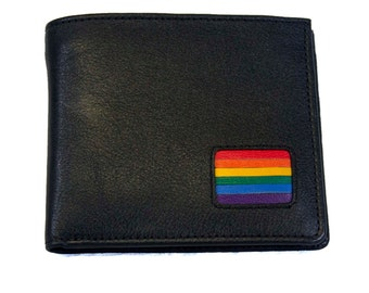 Gay Pride Billfold  Rainbow Leather Wallet, Pride Rainbow Flag Black Leather Wallet