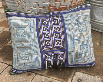 vintage hmong tribe embroidered batik pillow