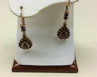 Victorian revival Garnet Pierced Earring 14k yellow gold