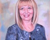 Custom portrait from photo/ Portrait painting/ Pastel portrait/ Personalized gift for women/