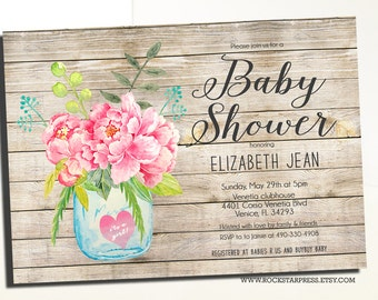 Rustic Baby Girl Shower Invitation Rustic Mason Jar Rustic Baby Shower _1243