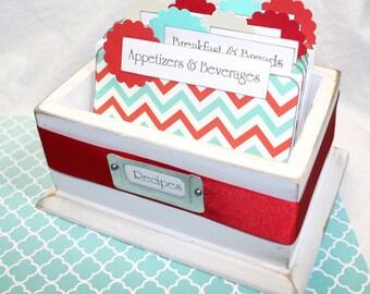 RECIPE BOX, Recipe Dividers, Red and Aqua, Rustic White Box, Chevron Dividers, White Box, Tiffany Blue and Red, Red Kitchen, Aqua Kitchen
