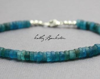 Neon Apatite Bracelet, Apatite Bracelet, Apatite Heshi Bracelet, Blue Bracelet, Stacking Bracelet, Apatite Jewelry, Kathy Bankston