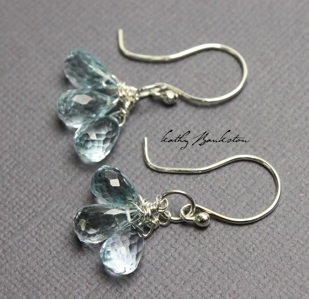 blue topaz earrings sparkly blue earrings topaz cluster
