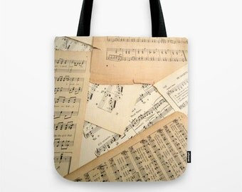 Vintage Music Tote Bag, music bag, music tote, sheet music bag, sheet music tote, music gift, music gift idea, music lover gift, small tote