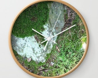 Natural Forest Floor Wall Clock, moss wall clock, nature wall clock, natural clock, modern clock, forest wall clock, woodland clock