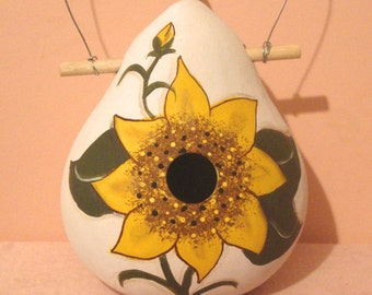 Sunflower Kettle Gourd Birdhouse, X-Large, Handpainted (GBHC523)