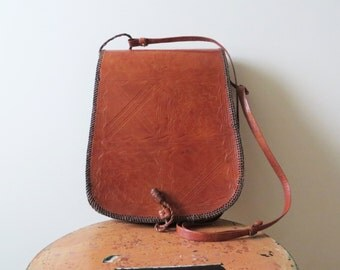 70s Tooled Leather Satchel Travel Crossbody
