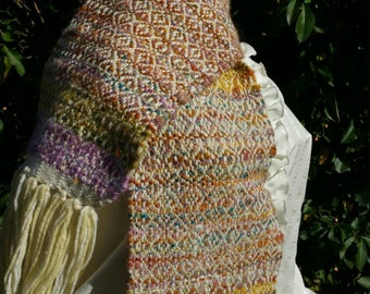 Wool Scarf - Mohair Scarf - Womans Scarf - Alpaca Wool Scarf - Hand spun Scarf - Fringe Scarf - Long Wool Scarf - Long Womans Scarf