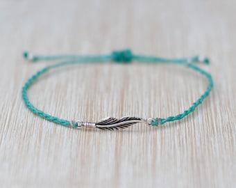 Turquoise Feather Bracelet - Minimalist jewelry - 925 Silver charm bracelet - Boho bracelet - Hippie jewelry - Bohemian bracelet - Macrame