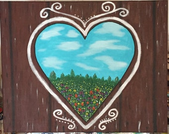 16x20 acrylic heart window painting