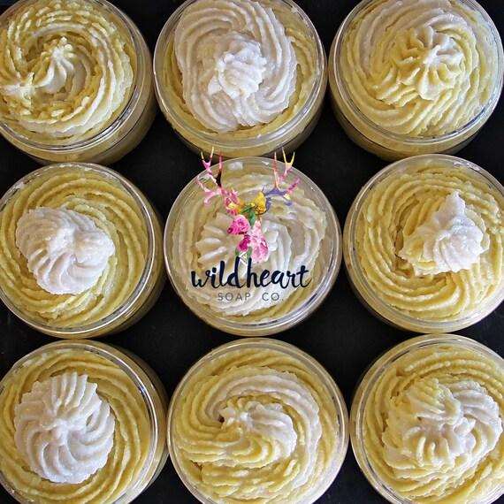 Lemon Meringue - Whipped Sugar Scrub - Buff - Emulsified - Body Polish - Natural - Jar - Fragrance - Bath - Spa - Exfoliate - Detox