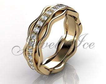 Eternity Wedding Band - 14k Yellow Gold Diamond Eternity Wedding Band LB-2036-2