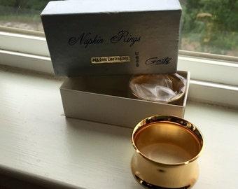 2 Vintage GERITY Napkin Rings 24K Gold Electroplated
