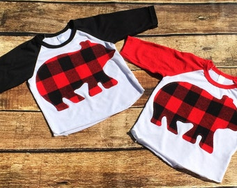 Buffalo Plaid Bear Shirt//Ready To Ship//Two Colors Available
