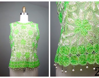 VTG Lime Green Beaded Top / Netted Beaded Sheer Tank / Coachella Boho Crochet Top