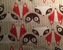 FLANNEL - Cute Fox Fabric - Red Fox Flannel - Brown Fox Flannel - Cute Owl Fabric - Cute Owl Fabric - Forest Animals Fabric