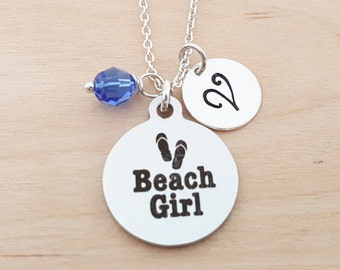 Beach Girl Necklace - Beach Jewelry - Personalized Initial Necklace - Sterling Silver Necklace - Swarovski Birthstone Jewelry - Gift For Her
