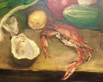 George J. Didusch (1916-1992) Painting Maryland Crab Still Life 1935