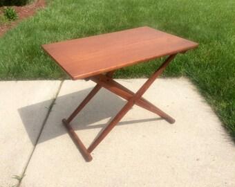 Danish Modern Teak Denmark Folding Table Signed 1960's