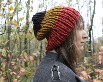 Oversized Fold Over Chunky Knit Hat . Slouchy Wool Free Hat . Unisex Hat   {  Black, Cinnamon & Brick Red  }