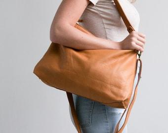 SALE - Soft Leather Handbag, Hobo bag, Camel Leather Bag, Leather Crossbody Bag, Woman Hobo Handbag, Camel Bag, Hobo Bag, Leather Handbag