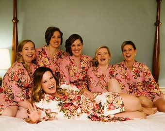 Set of Bridesmaid Robes, Bridal Party Robes, Long Robes, Plus Size Robe, Custom Robes, Floral Dress, Wedding Robes, Flower Dress