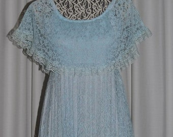 Vintage  Lavender Lace Pleated Maxi Dress by ALGO-ETTES Canada 1970s.