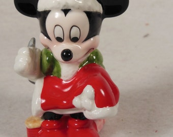 "Vintage -Mickey Mouse Is Repairing His Outfit-Ceramic Figurine-Schmid-3 1/2"" Tall-No Box"
