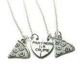 2 Partners In Crime Pizza Necklaces, Best Friends Necklaces, Sisters Necklaces, Pizza Necklaces, Friends Necklaces