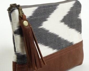 boho clutch // leather purse // boho clutch purse // ikat leather purse // coin purse