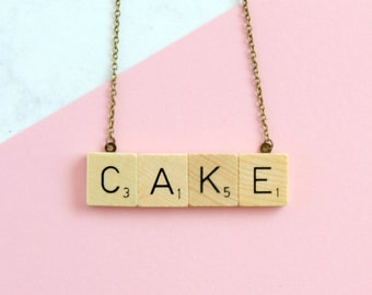 CAKE Phrase Necklace,  Wooden Scrabble Inspired Cake Necklace, Scrabble Necklace, Cake Word Necklace, Scrabble Christmas Gift