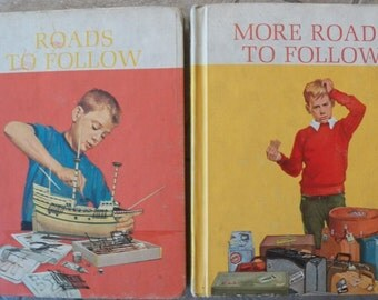 Vintage 1964 Reader Lot~Roads To Follow and More Roads To Follow~Scott Foresman