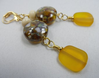 "Golden Brown Lampwork Leverback Earrings with Seaglass - 3"" length"