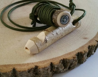 Wooden whistle with integral mini compass, woodland whistle, outdoors, adventure,