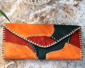 One of a kind, Hand stitched leather wallet for women, 3 colors leather purse, Reggae colors wallet, Native american style wallet