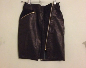 SALE 20% OFF 1980's Vintage Quality High Waist Real Leather & Suede Black Skirt Gold Zips Thigh Split Minimal