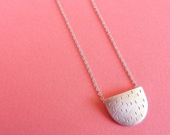 Necklace - Silver Arch Necklace - Hand stamped silver pendant necklace - Vertical dashes semi-circle necklace - Handmade in Australia