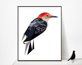 Geometric Decor,Bird Poster,Wall Art Decor,Printable Art,grey colour,Printable Instant Download,Low poly,Big format,D78redbeliedwoodpecker