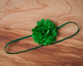 FREE SHIPPING! Green Baby Headbands, Green Flower Headbands, Petite Green Headbands, Headbands Green, Green Photo Props, Newborn Headbands