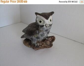 SALE Owl Figurine Brown and Grey Owl Statue / Owl Knicknack