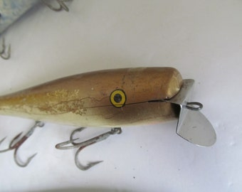 Antique Deep Sea Fishing Lures Creek Chub Wooden Lures/Fisherman Gift Idea/ Large Fishing Lures Nautical Decor/Beach House Decor/ Fish Decor