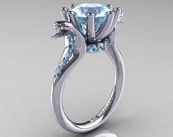 Art Masters Cobra 14K White Gold 3.0 Ct Aquamarine Engagement Ring R602-14KWGAQ
