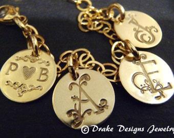 gold mothers bracelet personalized initial bracelet family 14k gold filled