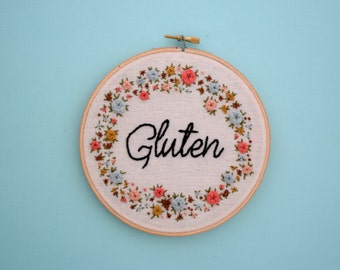 Gluten, Gluten Love, I Love Gluten, Gluten Jokes, Dad Jokes, Pun, Punny, Embroidery, Wall Art, Embroidery Decor, Floral Wreath, Celiac, Puns