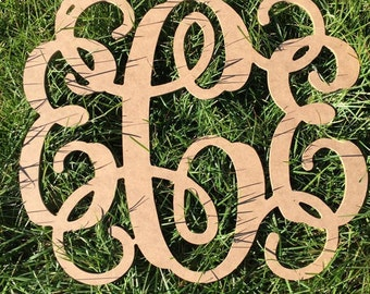 "wooden monogram, wood wall monogram, nursery decor, monogram wall hanging, Diy monogram to paint, 18"" wood monogram, 14"" wood monogram"