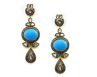 Victorian Reproduction 1.94Ctw. Rose Cut Diamond Sterling Silver Earrings