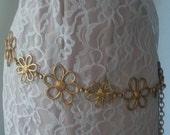 Belt Vintage Gold Tone Flower Power Chain Hip Waist