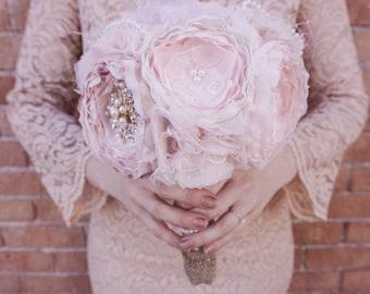 Blush fabric bouquet, brooch fabric bouqhet, fabric flower bouquet, rose gold fabric bouquet
